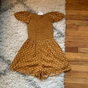 NWT Mustard Yellow Flower Floral Romper